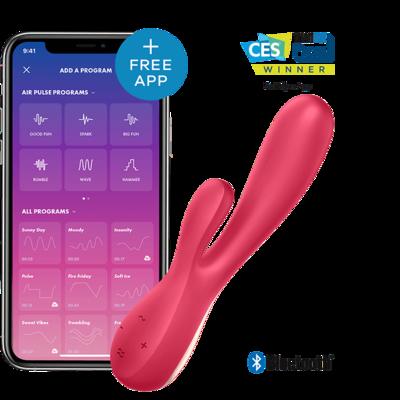 Вибратор Satisfyer Mono Flex с возможностью управления через смартфон красный