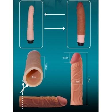 Удлиняющая насадка на пенис Super Realistic мулат, плюс 3 см