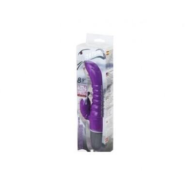 Фиолетовый G-вибратор с клиторальным стимулятором