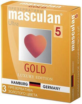 Презервативы Masculan-5 Gold из утонченного латекса золотого цвета с ароматом ванили (3 шт)