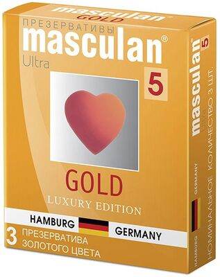 Презервативы Masculan-5 Gold №3 из утонченного латекса золотого цвета с ароматом ванили