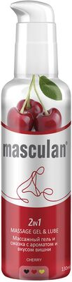 Гель-смазка Masculan 2 в 1 с ароматом и вкусом вишни массажный с дозатором (130 мл)