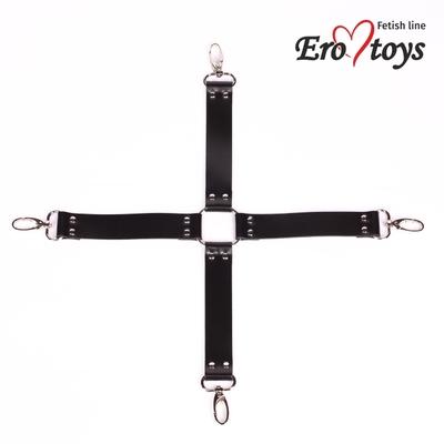 Бондажный крест черный ручной работы из натуральной кожи Erotoys Fetish line, Ero-37