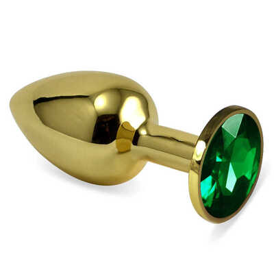 Золотая анальная пробка с зеленым камнем