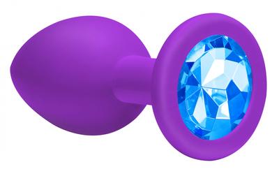 Анальная пробка фиолетовая с голубым кристаллом Emotions Cutie Large