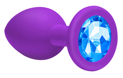 Анальная пробка Emotions Cutie Large Purple light blue crystall