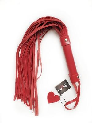 Плетка ручной работы из натуральной кожи красная 55 см Erotoys Fetish line, Ero-168
