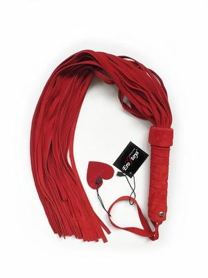 Плетка ручной работы из натуральной замши красная 60 см Erotoys Fetish line, Ero-169
