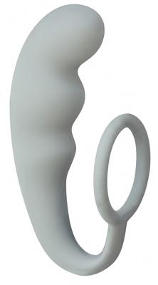 Анальный стимулятор с эрекционным кольцом серый Mountain Range Anal Plug