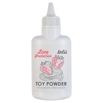 Пудра для игрушек Love Protection с ароматом клубники со сливками (30 г)
