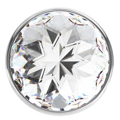 Анальная пробка серебристая с прозрачным кристаллом Diamond Sparkle Small