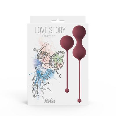 Набор вагинальных шариков Love Story Carmen Wine Red красного цвета
