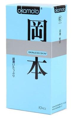 Презервативы Okamoto SKINLESS SKIN SUPER LUBRICATIVE с двойной смазкой (10 шт)