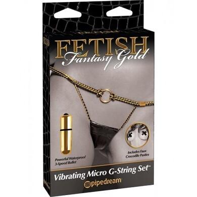 Вибротрусики FF Gold Vibrating Micro G-String Set