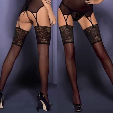 Чулки с широкой цветочной резинкой Intensa Stockings S/M