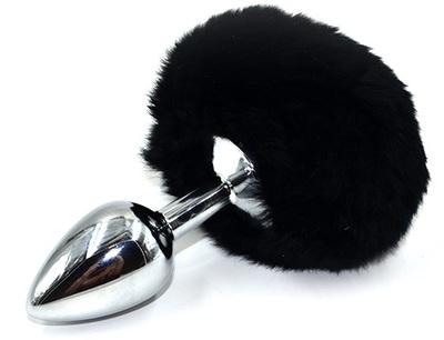 Серебряная анальная пробка с черным заячьим хвостиком (Small)