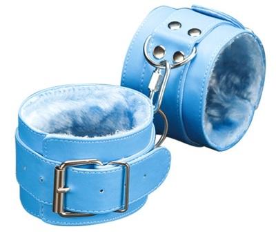 Голубые наручники с мягкой подкладкой