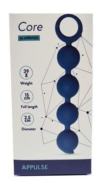 Анальная цепочка Appulse, силикон, 2,5 x 13 см, цвет кобальт