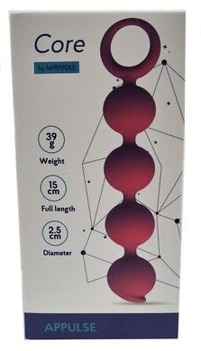 Анальная цепочка Appulse, силикон, 2,5 x 13 см, цвет бордовый