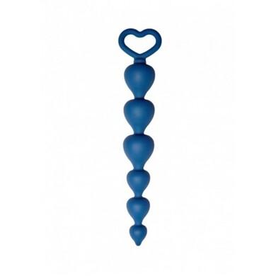 Анальная цепочка Heart Ray, силикон, диаметр до 2,5 см, длина 17,5 см, цвет кобальт