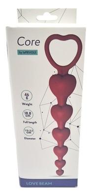 Анальная цепочка Love Beam, силикон, диаметр до 3,2 см, длина 19, цвет бордовый