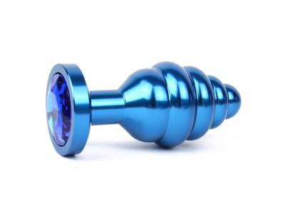 Анальная втулка ребристая синяя с синим кристаллом, размер M