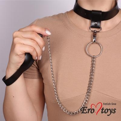 Черный ошейник-трансформер ручной работы из натуральной кожи с цепочкой Erotoys Fetish line, Ero-10