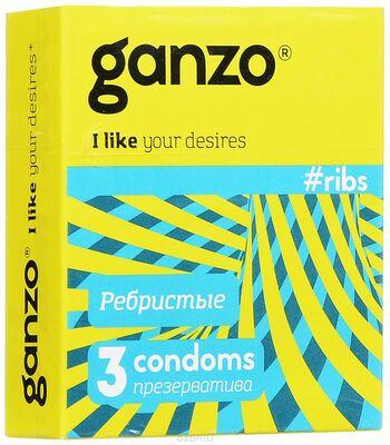 """Презервативы Ganzo """"ribs"""" №3 (ребристые с согревающей смазкой)"""