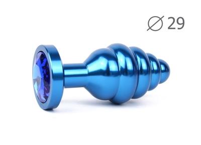 Анальная втулка ребристая синяя с кристаллом синего цвета, размер S