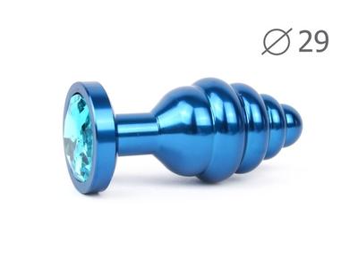 Анальная втулка ребристая синяя с кристаллом голубого цвета, размер S