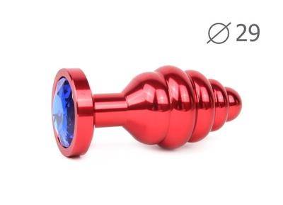 Анальная втулка ребристая красная с кристаллом синего цвета, размер S