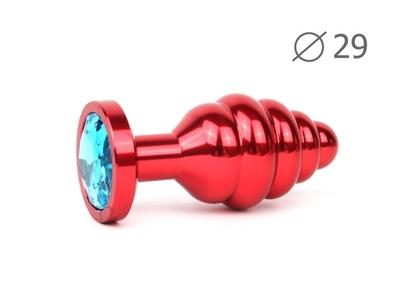 Анальная втулка ребристая красная с кристаллом голубого цвета, размер S