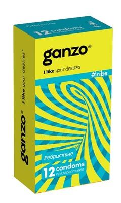 Презервативы ребристые с согревающей смазкой Ganzo Ribs (12 шт)