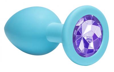 Анальная пробка голубая с фиолетовым кристаллом Emotions Cutie Medium