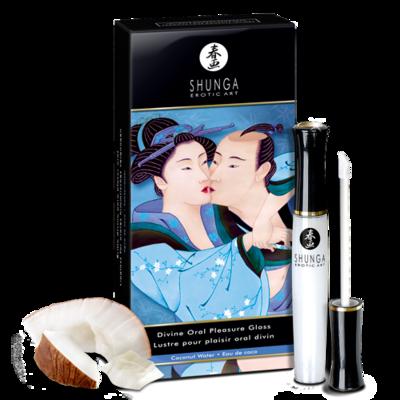 Блеск для губ для орального секса Shunga «Божественное удовольствие» с согревающе-охлаждающим эффектом с ароматом кокоса (10 мл)