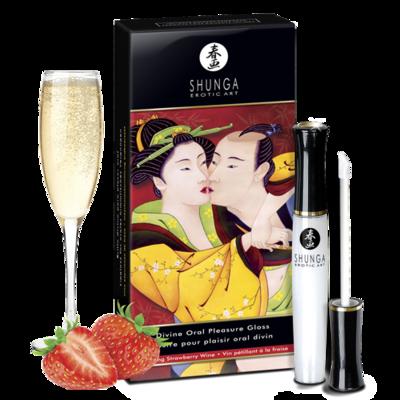Блеск для губ для орального секса Shunga «Божественное удовольствие» с согревающе-охлаждающим эффектом с ароматом клубники и шампанского (10 мл)