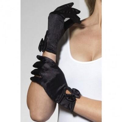 Черный атласные перчатки Леди Fever