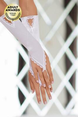 Атласные короткие перчатки белые SoftLine (S/L)