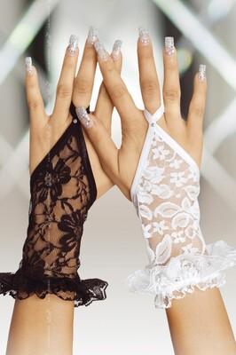 Кружевные черные короткие перчатки SoftLine Collection, S/L
