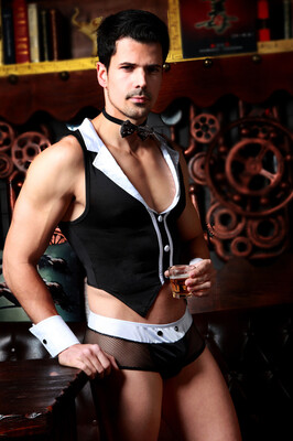 Костюм официанта Candy Boy Archer (майка, трусы, манжеты, галстук-бабочка), OS