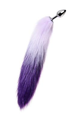 Анальная втулка Metal TOYFA с бело-фиолетовым хвостом металлическая серебристая, размер S