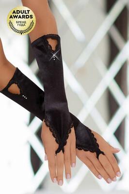 Перчатки атласные короткие черные SoftLine Collection (S/L)