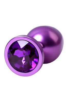 Анальная пробка металлическая фиолетовая с фиолетовым кристаллом, размер M