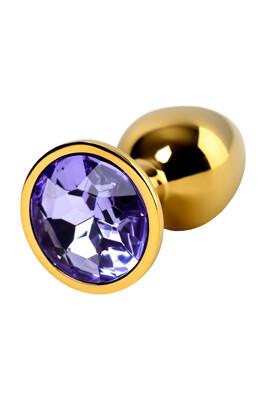 Анальная пробка металлическая золотистая Metal TOYFA со светло-фиолетовым кристаллом, размер S