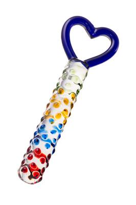 Фаллоимитатор из стекла с ручкой в форме сердца 22,5 см