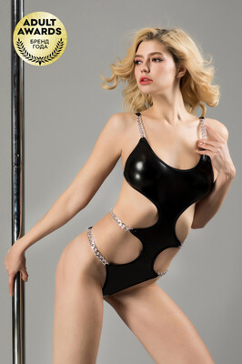 Боди чёрное с металлическими цепочками Candy Girl Selene, OS