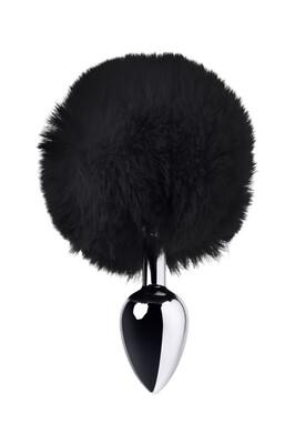 Серебристая анальная втулка с чёрным хвостиком зайчика