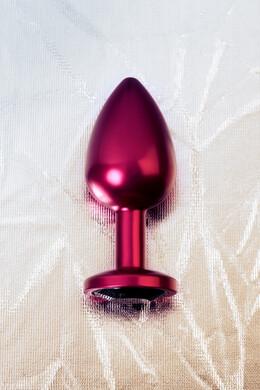 Анальная пробка металлическая красная с черным кристаллом, размер M