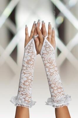 Белые кружевные длинные перчатки SoftLine Collection S/L