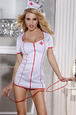 Костюм медсестры Candy Girl Angel (платье, стринги, головной убор, стетоскоп) OS